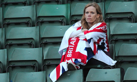 A woman wrapped in a flag at the tennis, London 2012 Olympics