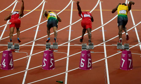 A beer bottle bounces on the track