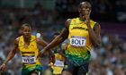 Jamaica's Usain Bolt celebrates