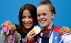 Great Britain's Ellie Simmonds with her gold and Victoria Arlen of the USA