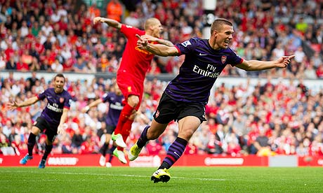 Arsenal's Lukas Podolski celebrates