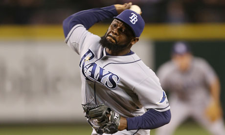 Fernando Rodney of the Tampa Bay Rays pitches against the Seattle Mariners