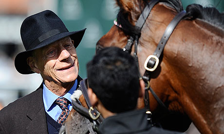 Frankel with Sir Henry Cecil before the star colt's public gallop at Newmarket