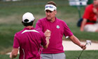 Europe's Ian Poulter and Rory McIlroy beat Jason Dufner and Zach Johnson of the USA at the Ryder Cup