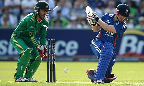Eoin Morgan is bowled by Johan Botha