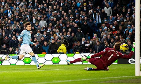 David Silva scores the first goal for Manchester City