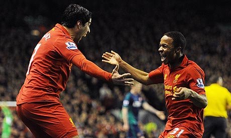 The Liverpool striker Luis Suárez, left, set up Raheem Sterling for the first goal
