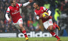 Arsenal's Theo Walcott reacts to his goal against Chelsea