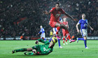 Southampton's Guly Do Prado hurdles Everton's Tim Howard