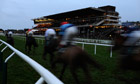 Cheltenham racecourse in the dusk