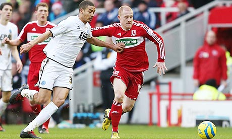 Aldershot Town's Michael Hector, left, in action with Nicky Bailey of Middlesbrough