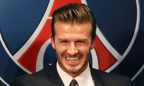 David Beckham at a press conference in Paris to announce his move to Paris Saint-Germain.