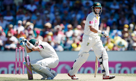 Mike Hussey is run out in his final Test