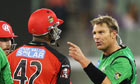Shane Warne, right, squares up to Marlon Samue