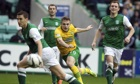 The Celtic winger James Forrest, centre, replaced Kris Commons and scored the equaliser at Hibernian
