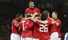Manchester United celebrate a goal
