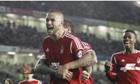 Henri Lansbury celebrates scoring Nottingham Forest's third goal in 3-1 win at Brighton