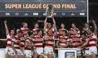 Wigan celebrate winning the Super League grand final at Old Trafford last Saturday