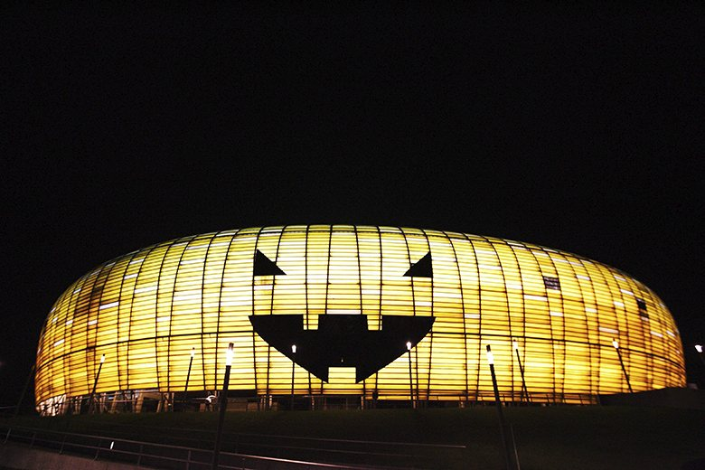 Lechia Gdansk's PGE Arena stadium lights up as a giant pumpkin for Halloween