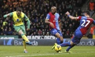 Norwich City's Gary Hooper, left, scores against Crystal Palace in the Premier League at Carrow Road