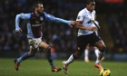 Antonio Luna struggles to keep up with Antonio Valencia, Aston Villa v Manchester United