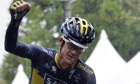 Saxo-Tinkoff rider Michael Rogers gestures after winning the Japan Cup cycling road race