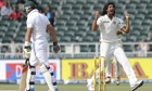 Ishant Sharma celebrates the wicket of the South Africa batsman Jacques Kallis in the first Test.