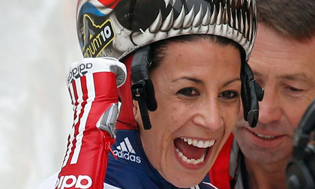 Shelley Rudman after winning the skeleton world championship title in St Moritz, Switzerland.