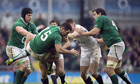 Ireland's full back Rob Kearney (2L) get