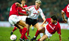 Mark Robins plays for Manchester United v Nottingham Forest, FA Cup third round, 1990