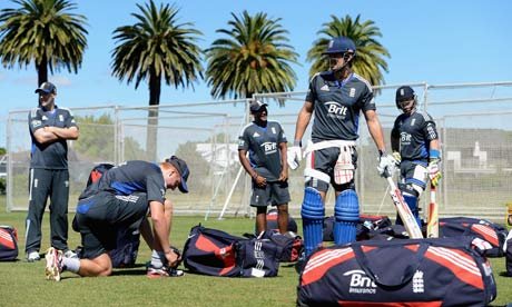 Alastair Cook at a nets session in Napier