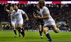 Geoff Parling goes over for a try for England v Scotland at Twickenham
