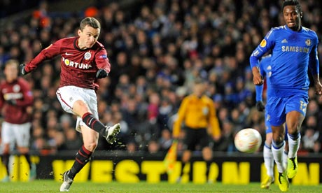 Sparta Prague's David Lafata scores against Chelsea in the Europa League at Stamford Bridge.