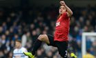 Rafael da Silva, the Manchester Utd defender, celebrates his wonder goal against Queens Park Rangers