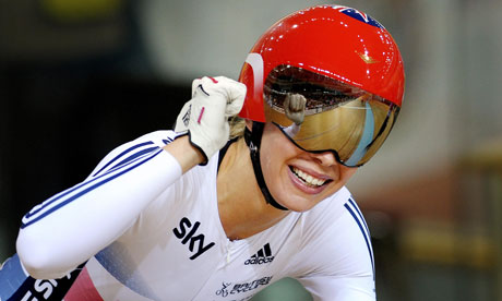 Becky James celebrates gold in the keirin at the track cycling world championships