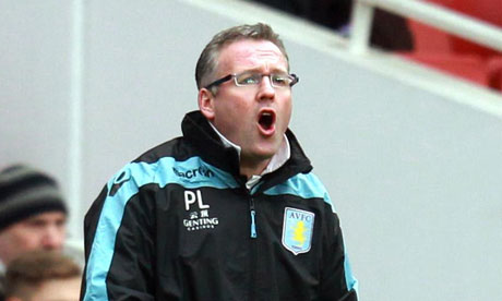 The Aston Villa manger Paul Lambert
