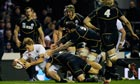 Billy Twelvetrees of England goes over to score