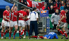 Wales' George North raises his arm in triumph in Paris
