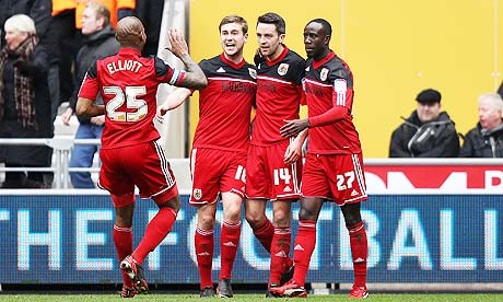 Bristol City's Marvin Elliott, Steven Davies, Liam Kelly and Albert Adomah celebrate against Wolves