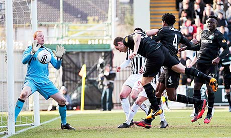 Anthony Stokes, centre, scores Celtic's second goal against St Mirren in the Scottish Cup