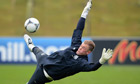 Joe Hart during an England training session at St George's Park