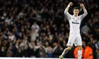 Gareth Bale, the Tottenham Hotspur winger, celebrates opening the scoring against Arsenal