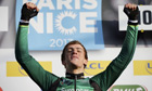 Damien Gaudin was shaking as he won the prologue of the Paris-Nice race in a close finish.
