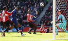 Sunderland's Titus Bramble scores an own goal against Manchester United in the Premier League