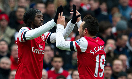 Arsenals Gervinho left ce 006 Wengerball: Does Arsenals Tiki Taka v Reading prove they have what it takes to finish top 4?