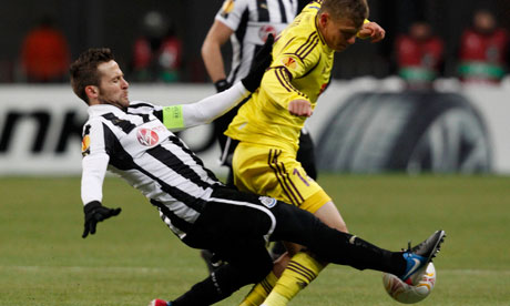 Yohan Cabaye, the Newcastle midfielder, wins the ball in the Europa League against Anzhi Makhachkala