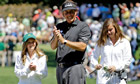 Phil Mickelson with his daughters Amanda and Sophia during the par three competition at Augusta