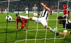 Mario Mandzukic (left) scores the opening goal for Bayern Munich against Juventus