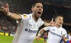 Clint Dempsey celebrates with Lewis Holtby after scoring his and Tottenham's second goal v Basel