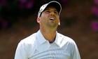 Sergio Garcia after missing a birdie putt on the 13th green, second round of Masters
